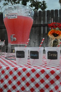 """""""I Do""""  BBQ tablescape, plastic mason jars for the kids with chalkboard labels"""