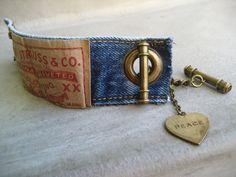 Denim Cuff Bracelet - Jeans Bracelet - Levis - Blue Denim Bracelet - Piece Lust. $25.00, via Etsy.