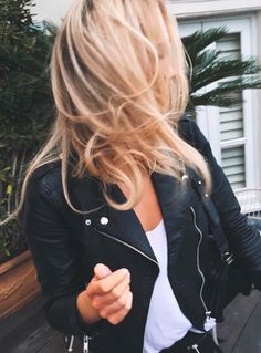 moto jacket + white tee