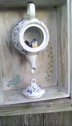 Vintage teapot birdhouse unique by RavenandThimble on Etsy