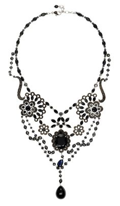 Chopard Red Carpet Collection necklace with black diamonds, sapphires and spinels set in white gold