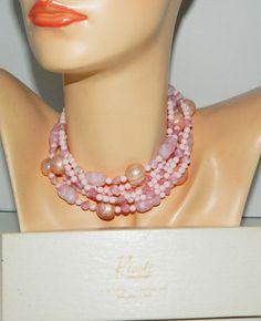 "Vintage RIVOLI Multi Strand Pink Bead 30""Long Necklace )double for Choker) w/Box #rivoli #StrandString"