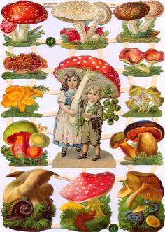 Vintage Labels, Vintage Cards, Vintage Images, Mushroom Decor, Christmas Tree And Santa, Vintage Scrapbook, Art Deco Design, Paper Background, Die Cutting