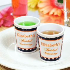 Bridal Entourage Party Shot Glasses personalized with your name. Everyone can have their own!