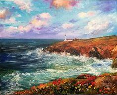 Oil painting landscape sea lighthouse