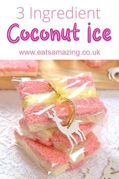 This no-cook easy coconut ice recipe has just 3 ingredients for a great edible gift idea kids can make themselves! Perfect for teacher gifts and Christmas presents for friends and family! Coconut Ice Recipe, Coconut Ice Cream, Coconut Recipes, Recipes Kids Can Make, Kids Cooking Recipes, Kids Meals, Christmas Treats, Christmas Baking, Christmas Presents