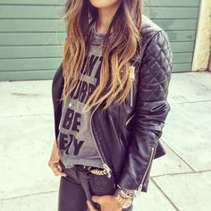 Simple t with a great leather jacket