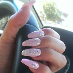 Coffin shape , Pink nails with glitter cascade and glitter accent nail