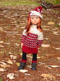 OOAK Hand-Knit Sweater Dress/Beret for Gotz Happy Kidz dolls by Debonair Designs #DebonairDesigns