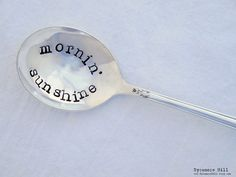 Mornin' Sunshine. Hello Sunshine. Good Morning Sunshine. Hand Stamped Spoon. Cereal Spoon. Original design by Sycamore Hill
