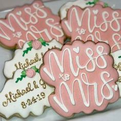 30 Latest Bridal Shower Gift Ideas You Will Totally Love Wedding Shower Cookies, Wedding Shower Decorations, Bridal Shower Gifts, Bridal Showers, Bridal Shower Snacks, Bridal Shower Cakes Rustic, Personalized Cookies, From Miss To Mrs, Christmas Wedding