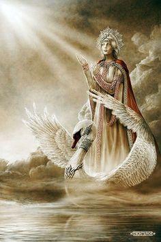 Slavic mythology by Igor Ozhiganov. Goddess Lada is the name of a Slavic deity of harmony, merriment, youth, love and beauty. Swans, Eslava, World Mythology, Pagan Gods, Sacred Feminine, Goddess Of Love, Tatoo Art, Russian Art, Gods And Goddesses