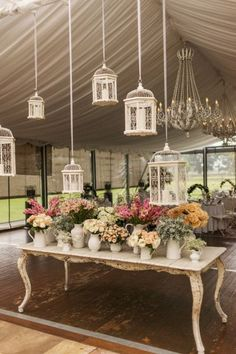 Rustic and vintage wedding decor / http://www.deerpearlflowers.com/hanging-wedding-decor-ideas/