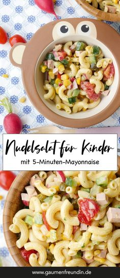 Der beste Nudelsalat für Kinder (mit schneller Milch-Mayonnaise) The best pasta salad for children with meat sausage, cucumber, radishes, tomatoes and corn, as well as mayonnaise - a food pal Pasta Salad For Kids, Salads For Kids, Best Pasta Salad, Baby Food Recipes, Pasta Recipes, Salad Recipes, A Food, Food And Drink, Avocado Pasta