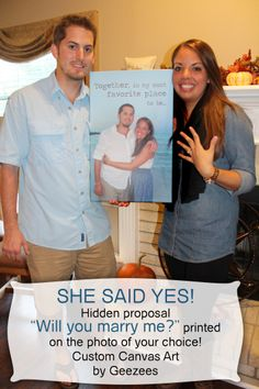 #Proposal #Idea on Art, #Unique Way to #propose, Romantic gift idea...Photos to Canvas Word Art. Personalized Unique gift for Him or Her. Wedding Vow Art Personalize Just Married! Custom Large Gallery Wrapped Canvas Photo Portrait & Word Art. Wedding, Engagement Or Anniversary Photo with Vows,lyrics, Poem, Love Letters. Perfect gift for anyone in your life!