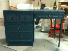 dark ocean blue bamboo desk / vanity