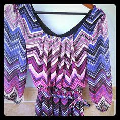 Purple chevron dress Super cute purple chevron dress. Mid length sleeves and skirt. Dresses