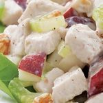 Chicken Waldorf Salad  ~Love Waldorf Salad + Love Chicken = Summer Salad Bliss!~ Leftover cooked chicken makes this chicken Waldorf salad, loaded with apples, grapes, celery and walnuts, a snap to assemble. If you use rotisserie chicken, keep in mind that it's salty and omit the salt in the dressing. Serve over watercress, with a chunk of whole-grain baguette. Calories - 356 Carbohydrates - 23g Fat - 16g Protein - 31g Sodium - 408mg
