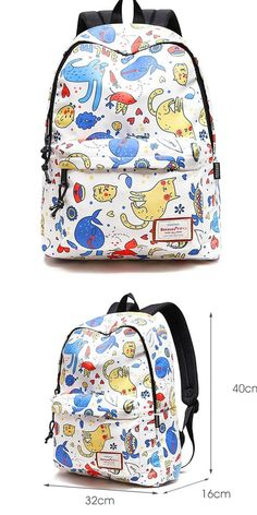 Lovely Kitten Tortoise Animal Dolphin Cartoon Cat School Bag Waterproof Polyester Student Backpack - Mary's Secret World High School Bags, Cute School Bags, School Kids, Outdoor Backpacks, Cool Backpacks, College Backpacks, Cat Backpack, Canvas Backpack, Bags For Teens