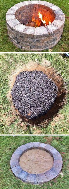 Build a simple diy fire pit click pic for 20 diy garden ideas on a budget d Diy Fire Pit, Fire Pit Backyard, Backyard Fences, Backyard For Kids, Backyard Projects, Backyard Landscaping, Backyard Ideas, Fire Pits, Porch Ideas