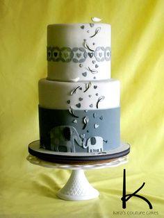 Elephant Themed Baby Shower Cake in Shades of Gray - by KarasCoutureCakes @ CakesDecor.com - cake decorating website