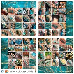 I'm in there somewhere will post my solo shot shortly                                    #Repost @whencolourscollide with @repostapp.  Here is the latest collage for the #whencolourscollide collage collab. Another huge collage of Teal and Gold with 76 wonderful participants. If you want to join our bi-weekly nail challenges go to our FB page and join us! #whencolourscollide #nails #nailart #collage #collab #nailchallenge #tealgold by baby_mama_nails