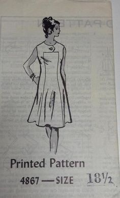 Vtg Mail Order Sewing Pattern Dress 18 1/2  Bust 41 Printed FF