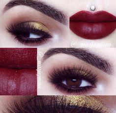 Sugar pill makeup 'Goldilux' eyeshadow and Melt cosmetics lipstick called 6six6