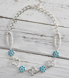 Turquoise and Silver Connector Necklace