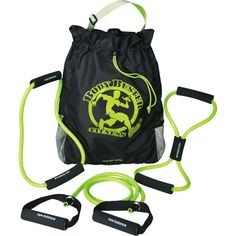 Pack your own personal fitness regimen in one convenient bag with the PVC free New Balance (R) Core Resistance Bands and Fitness Bag. These bands are a perfect way to strengthen muscles or to rehab an old injury. They vary in length and shape making them useful for a variety of exercises. The soft foam handles provide a comfortable grip and won't slip during your exercises. The complete set features a large fitness carry bag for bands and other gym essentials. An adjustable shoulder stra...