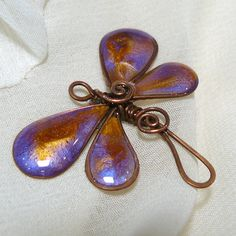 Purple and Gold Oxidized Copper Wire Dragonfly by kellscreations, $6.00