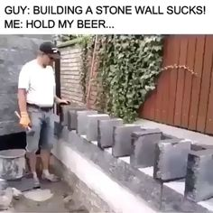 A fun way to make a stone wall (watch till end) Funny Short Videos, Funny Video Memes, Stupid Funny Memes, Haha Funny, Satisfying Pictures, Oddly Satisfying Videos, Building A Stone Wall, Images Kawaii, Beste Gif