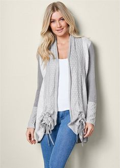 COZY LONG CARDIGAN, SEAMLESS CAMI, COLOR SKINNY JEANS, WRAP STITCH DETAIL BOOTIE