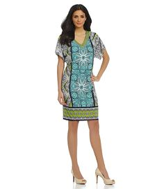 London Times Kimono-Sleeve Blouson Dress | Dillards.com