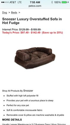 @Petco  Snoozer Luxury Overstuffed Sofa in Hot Fudge!