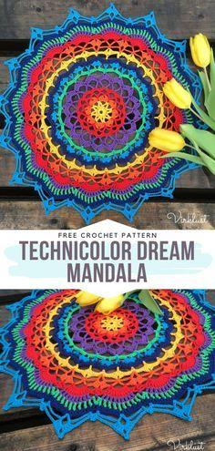 Motif Mandala Crochet, Free Crochet Doily Patterns, Crochet Motifs, Crochet Doilies, Crochet Flowers, Tatting Patterns, Crochet Feathers Free Pattern, Mandala Blanket, Mandala Yarn
