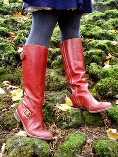 Red boots.