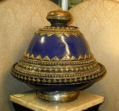 Antique Persian Cobalt Pottery and Metal Serving Vess