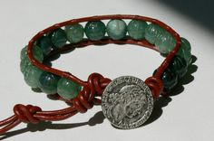 Men's Carved Jade Beads and Leather Wrap Bracelet