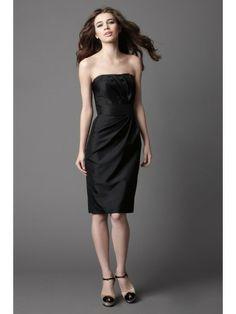 Shantung Strapless Gathered Bodice Knee-Length Bridesmaid Dress