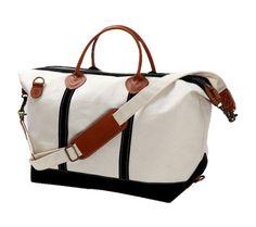 Lona personalizada Weekender Bag con negro Trim con monograma