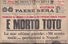 Questo è il ricordo, commovente che Eduardo De Filippo fece dalle pagine del Paese Sera. Newspaper Front Pages, Last News, Italian Humor, Italian Posters, Newspaper Headlines, History Photos, Vintage Italian, Kids And Parenting, Old Photos