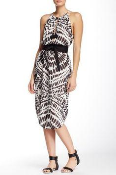 Printed String Strap Slit Dress