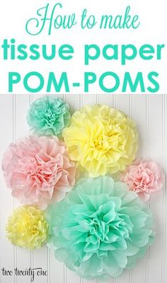 How to make the PERFECT tissue paper pom-poms! Plus, she tells you how to get 5 poms out of one package of tissue paper! A popular pin for pompoms and crafts!