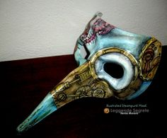 PAINTED MASK wearable handmade steampunk by LeggendeSegreteCloth