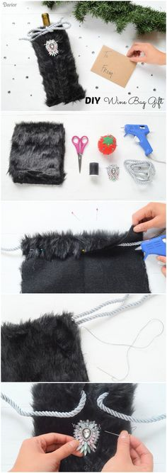 This year, swap out the paper gift bag and opt for a luxurious faux fur DIY wine bag. Basically, it's like two gifts in one! Paper Gift Bags, Paper Gifts, Raffle Baskets, Wedding Bag, Fabric Gifts, Wine Gifts, Couture, Leather Pouch, Diy Clothes