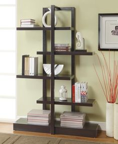 Floating White Painted Wooden Bookshelves Cabinet