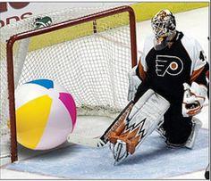 Why you haff make beach ball joke at me? Goalie sad now. Flyers Hockey, Hockey Goalie, Hockey Games, Ice Hockey, Hockey Mom, Funny Hockey Memes, Hockey Quotes, Lets Go Pens, Hockey Season