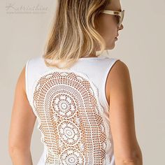 White Tank Top with upcycled vintage crochet doily by katrinshine