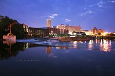 downtown south bend indiana at night